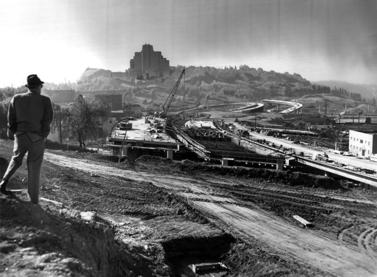 Construction of I-5 near what is today Yesler Terrace. (The Seattle Times)