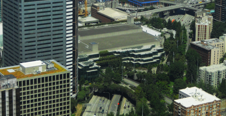The original facility of the Washington State Convention Center and its associated extensions of Freeway Park, looking north. (Photo: Scott Bonjukian)