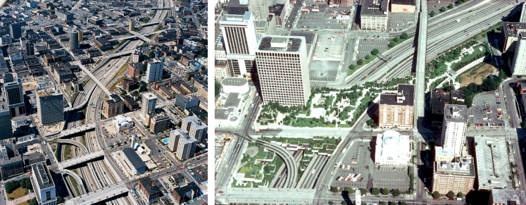 Interstate 5 before (left) and after (right) Freeway Park opened in 1976. (University of Washington, College of Built Environments Visual Resources Collection)
