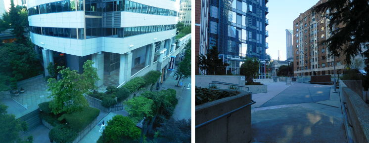 Left: Union Street entrance to Freeway Park. Right: Cielo apartment building path linking Freeway Park and Seneca Street.