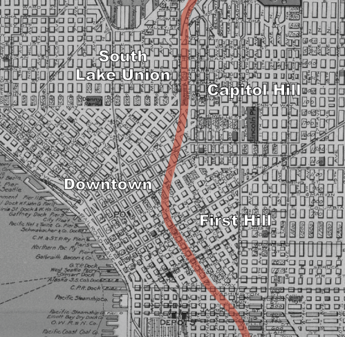 The alignment of Interstate 5 overlaid on Seattle's 1924 street grid. (Rand McNally Map, David Rumsey Historical Map Collection)