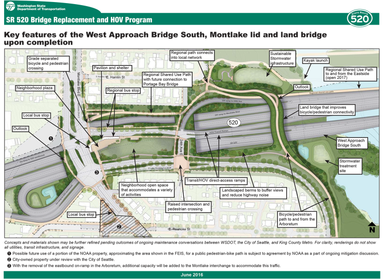 Concept plan for the Montlake lid, land bridge, and other nearby improvements. (Washington State Department of Transportation)